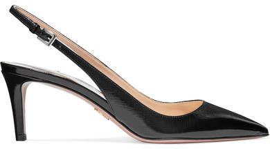 Prada Textured Patent-leather Slingback Pumps - Black