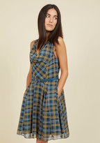 JANTEX INTERNATIONAL LIMITED Computer Tutor A-Line Dress in Dusk Plaid
