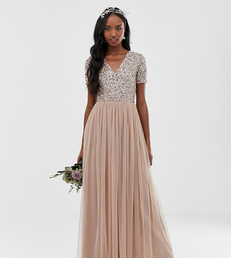 Maya Tall Bridesmaid v neck maxi tulle dress with tonal delicate sequins