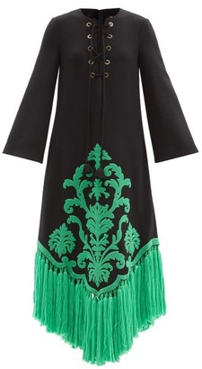 Gucci Tasselled Terry-applique Wool Dress - Black Multi