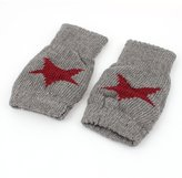 uxcell Red Star Print Lady Fingerless Elastic Knit Gloves Mitten Pair Gray