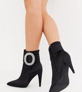 Asos Design DESIGN Wide Fit Eclectic diamante buckle boots in black