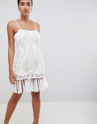 In The Style placement sequin strappy tassel hem mini dress-White