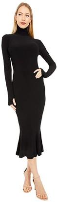 KAMALIKULTURE by Norma Kamali Long Sleeve Turtle Fishtail Dress To Midcalf (Black) Women's Clothing