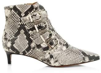 Joie Calinda Snake-Embossed Leather Kitten Heel Booties