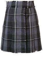 Thom Browne plaid raw edge wrap skirt