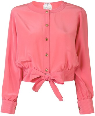 Chanel Pre Owned Front-Tied Collarless Shirt