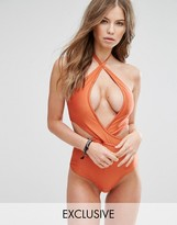 Wolfwhistle Wolf & Whistle High Shine Wrap Swimsuit B-F Cup