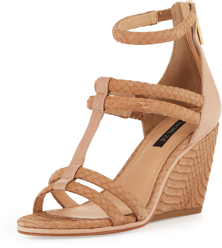 Rachel Zoe Nancy Snakeskin Wedge Sandal, Natural