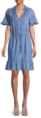 C&C California Short-Sleeve Cotton-Blend Mini Dress