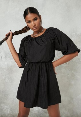 Missguided Black Ruched Waist Mini Dress
