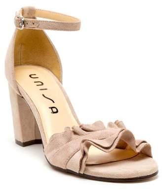 Unisa Danni Ruffle Block Heels - Taupe