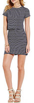 Copper Key Striped Knit Short-Sleeve Popover Sheath Dress