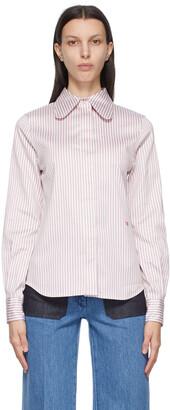 Victoria Beckham Purple Stripe Club Collar Shirt