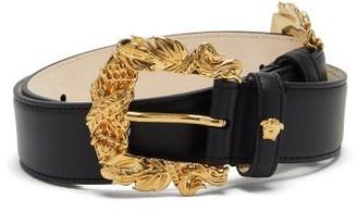 Versace Laurel-wreath Buckle Leather Waist Belt - Womens - Black Gold