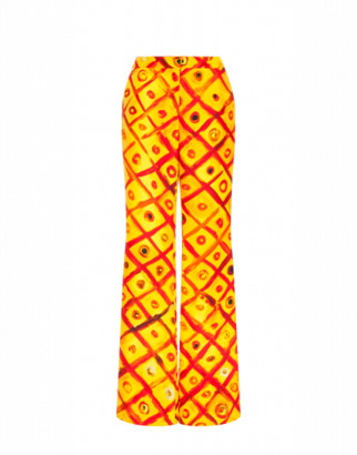 Moschino Cady Pants Red And Yellow Squares Woman Yellow Size 40 It - (6 Us)