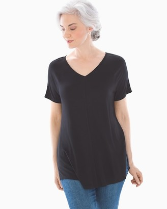 Soma Intimates Soft Jersey Short Raglan Sleeve Tunic Black