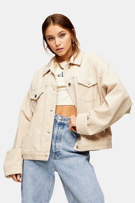 Topshop Ecru Denim Corduroy Oversized Jacket