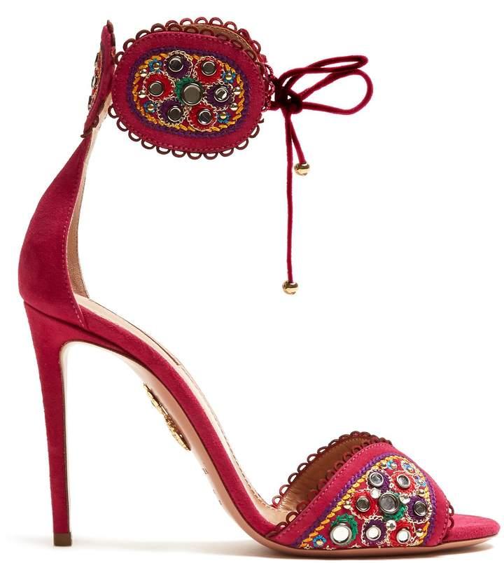 Aquazzura Jaipur 105 embroidered suede sandals