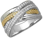 Lord & Taylor Diamond, Sterling Silver and 14K Yellow Gold Crisscross Ring