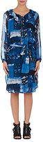 Raquel Allegra Women's Ruffle Crepe Belted Swing Dress-BLUE