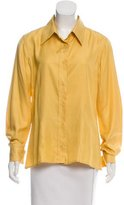 Carolina Herrera Silk Long Sleeve Button-Up Blouse