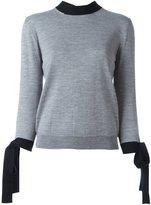 MSGM contrast tie sweatshirt - women - Virgin Wool - M
