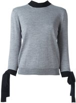 MSGM contrast tie sweatshirt - women - Virgin Wool - XS