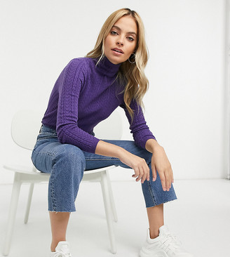 Fashion Union Petite high neck jumper in cable knit