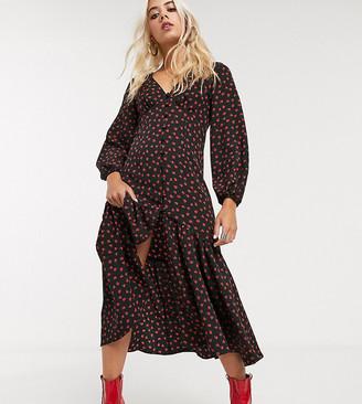 Topshop Petite button down midi dress in multi