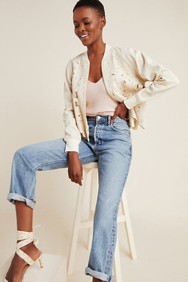 Anthropologie Nina Embroidered Bomber Jacket By in Beige Size XS