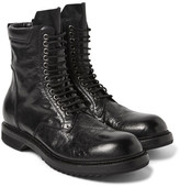 Rick Owens Distressed Leather Combat Boots