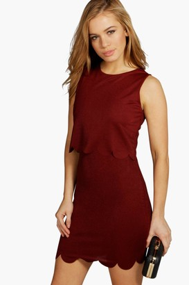 boohoo Petite Double Layer Scallop Hem Dress