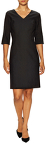 Josie Natori Silk Textured Split Cuff Sheath Dress
