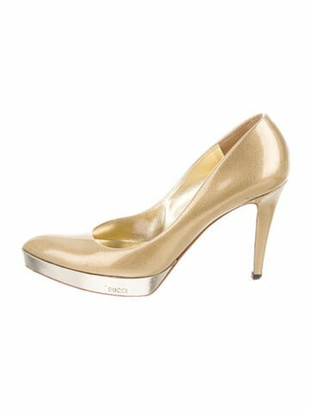 Gucci Patent Leather Pumps Gold