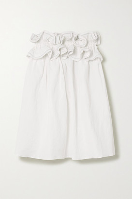 Nackiyé Nackiye - Milk Pudding Strapless Ruffled Cotton, Linen And Silk-blend Mini Dress - White