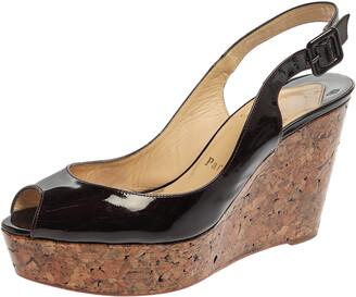 Christian Louboutin Burgundy Patent Leather Une Plume Cork Wedge Platform Slingback Sandals Size 38.5