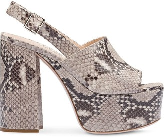 Miu Miu Python-Print Leather Sandals