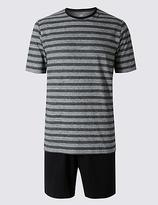M&s Collection 2in Longer Pure Cotton Striped Pyjama Short Set