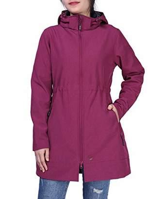 Outdoor Ventures Women's Caria Softshell Windbreaker Waterproof Hooded Fleece Lined Long Jacket