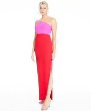 Aidan Mattox Colorblocked One-Shoulder Gown