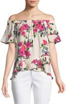 London Times Asymmetric Off-The-Shoulder Floral Blouse