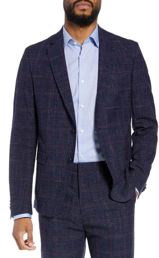BOSS Nobis Trim Fit Plaid Wool Blend Sport Coat