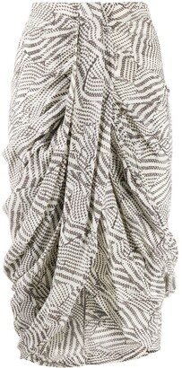 Isabel Marant Batik-print draped skirt