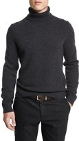 Michael Kors Cashmere Turtleneck Long-Sleeve Sweater, Charcoal Melange