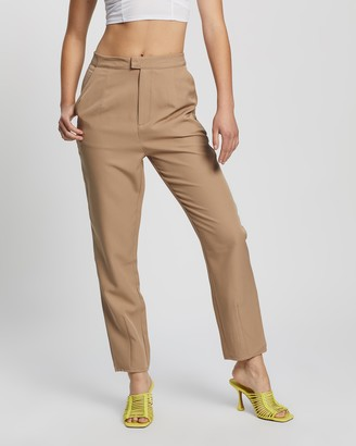 Missguided Women's Brown Pants - Tailored Co-Ord Cigarette Trousers - Size 14 at The Iconic