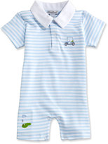 Kissy Kissy Mini Golf Striped Pima Collared Shortall, Blue, Size 3-24 Months