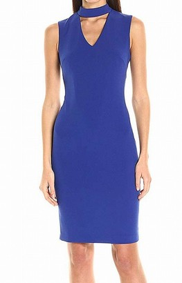 Calvin Klein Women's Sleeveless Sheath Dress with Stylized Neckline