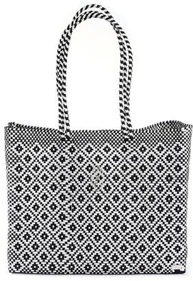 Lolas Bag Black Aztec Travel Tote Bag With Clutch