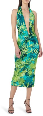 Versace Jungle Print Crepe Halter Midi Dress